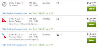 Screenshot of Travelocity.com price comparison, LAX to Fiji