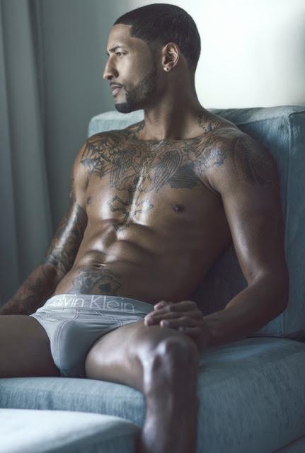 Aire Justin by Marvin Bienaime Black male model in Calvin Klein Underwear