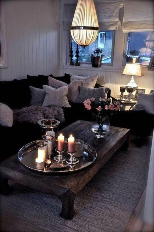 stylish and elegant, grey living room at night