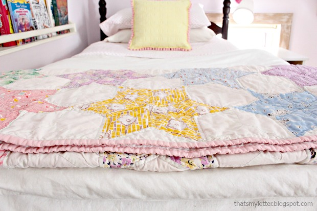 vintage quilt girls bed
