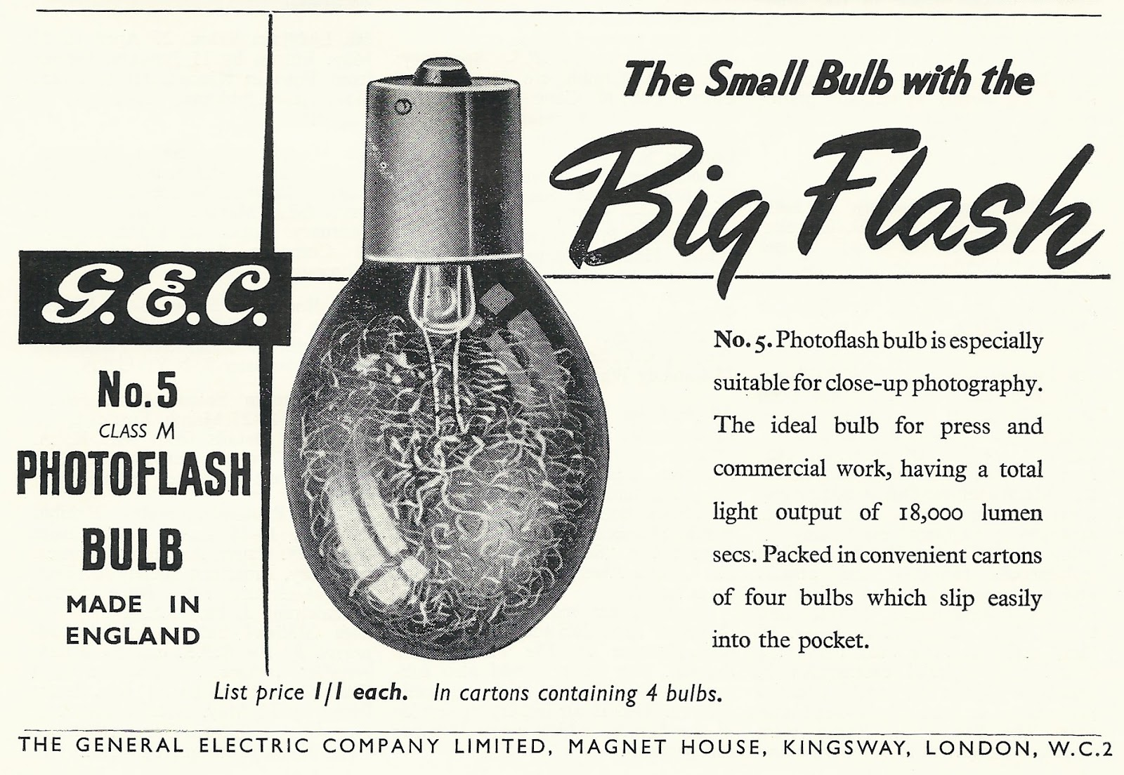 Old Ads Are Funny Ads G E C Photoflash Bulb