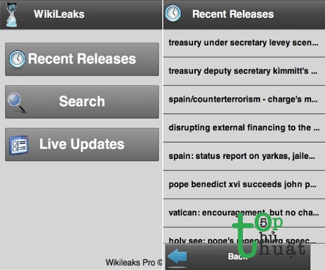 Wikileaks: Ứng dụng cho phép cập nhật các tài liệu, file nội bộ bị rò rỉ.