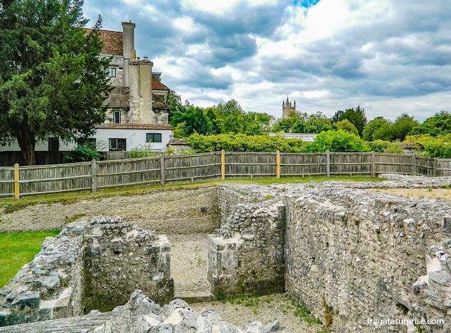 Ruínas do Wolvesey Castle, Winchester, Inglaterra