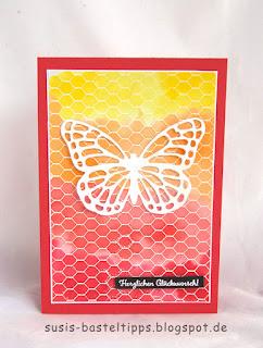 Schmetterling vor chicken wire HIntergrundtechnik verschiedene HIntergrund Variationen mit dem Stampin' Up! Stempel all wired up und Farben, Idee von Stampin' Up! Demonstratorin in Coburg