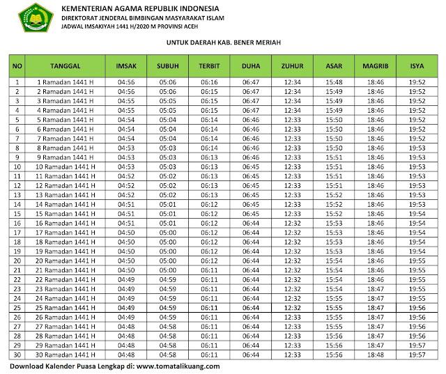 jadwal imsakiyah ramadhan buka puasa kabupaten Bener Meriah 2020 m 1441 h tomatalikuang.com