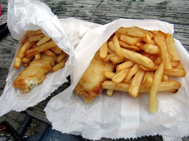 Fish and chips de un restaurante de Invercargill