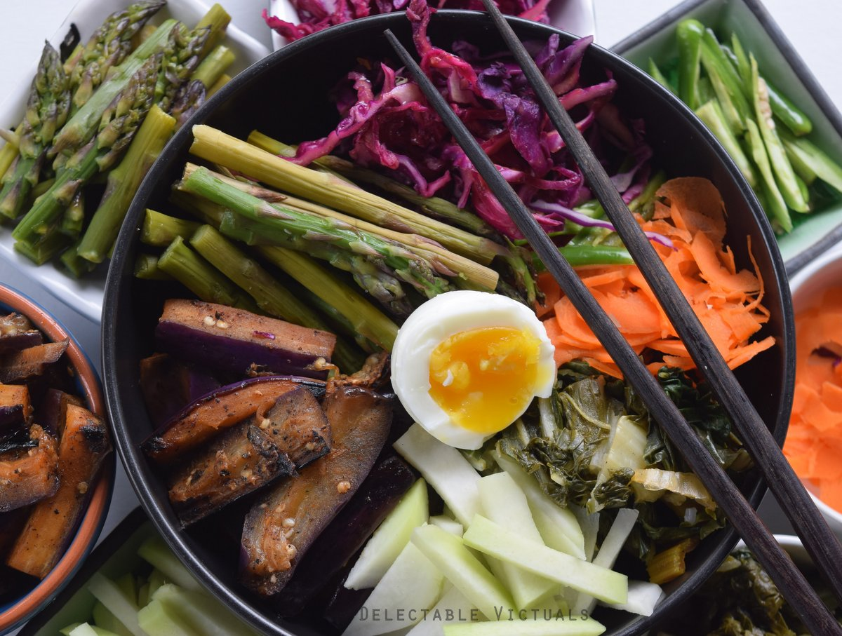 easy bibimbap korean eggplant greens chilies eggs cabbage carrots
