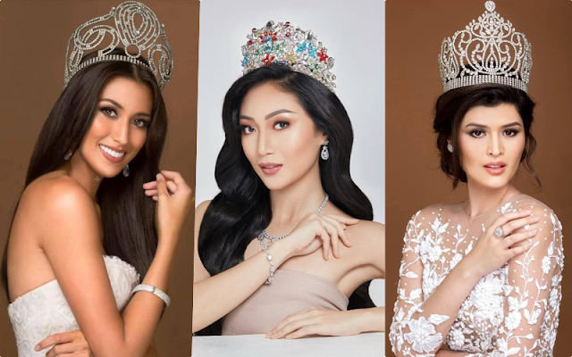 Filipinas in Gold Pageants (left to right): Rachel Peters (Miss Universe 2017), Karen Ibasco (Miss Earth 2017) and Mariel de Leon (Miss International 2017)