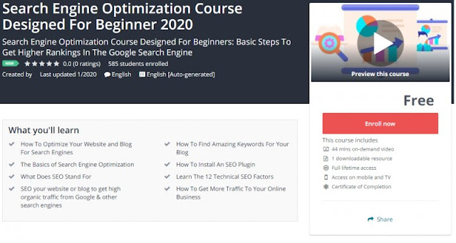 [100% Free] Search Engine Optimization Course Designed For Beginner 2020