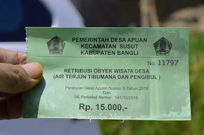 Tiket masuk Air Terjun Tibumana