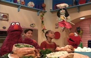 Jean the Genie, Elmo and Telly sing a song. Sesame Street Elmo's Magic Cookbook