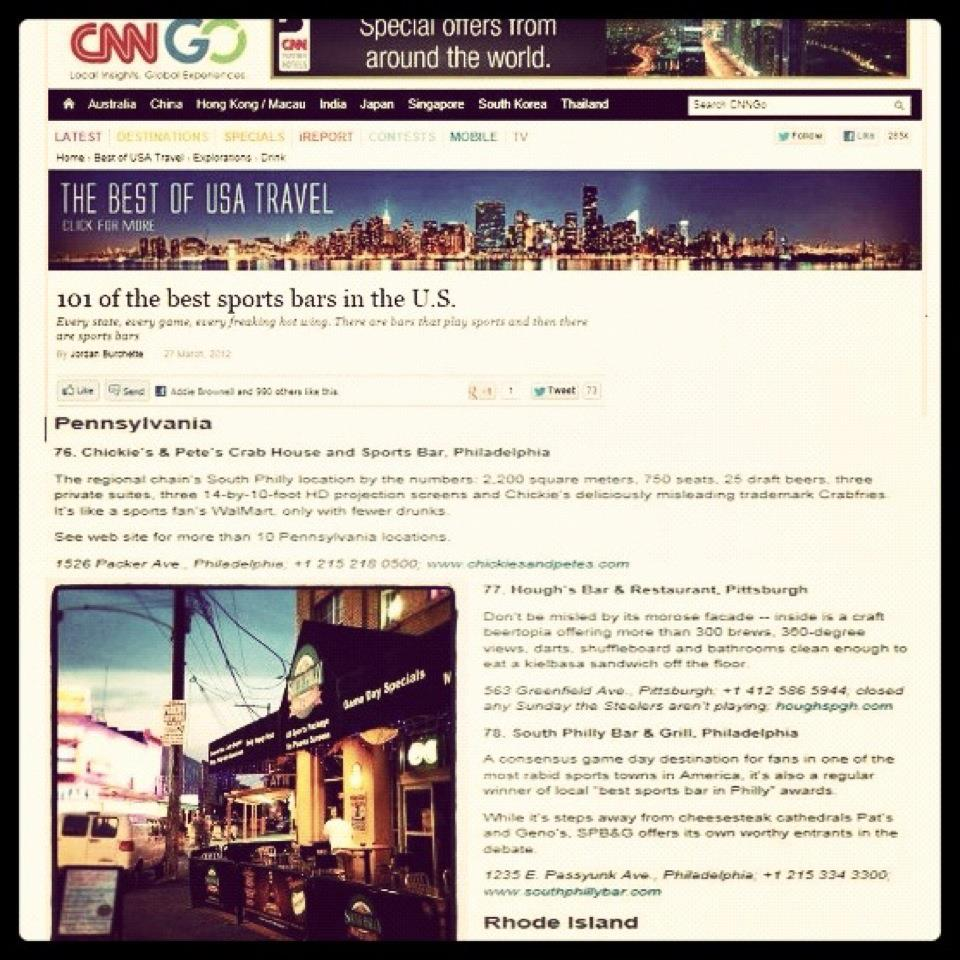 South Philly Bar and Grill: CNNGo Names SPB&G one of Top ...