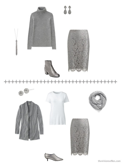 two ways to wear a grey lace skirt with A Common Wardrobe