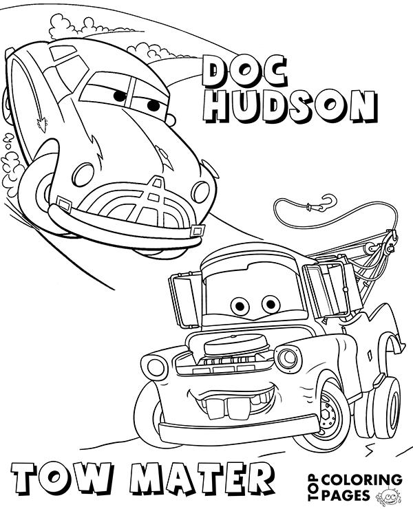 Tranh cho bé tô màu vương quốc xe hơi Tom marter và Doc hudson