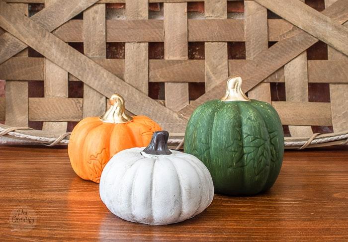 dollar store pumpkins before
