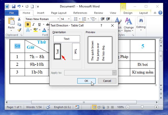 cách xoay chữ trong ô trong bảng trong word