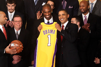 Bryant visited President Barack Obama at the White House in January 2010 to celebrate winning the championship for the 2008-9 season.