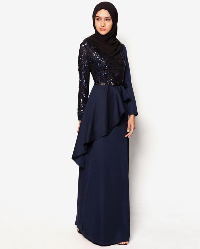 Tren Model Baju Lebaran Terbaru wrap dress biru navy