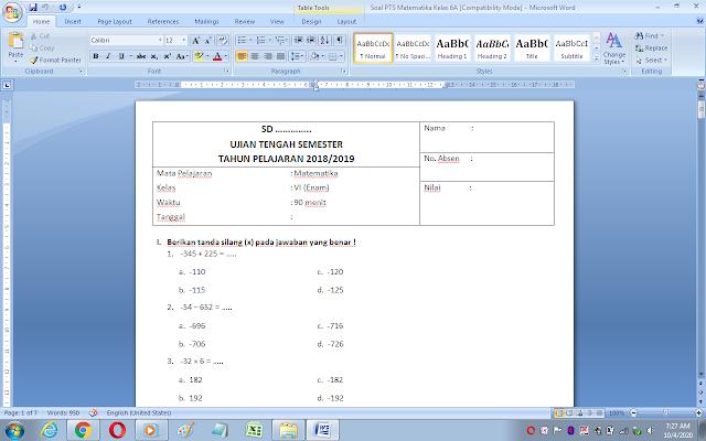 Soal matematika ujian tengah semester 1 kelas 6 sd/mi dan kunci jawaban