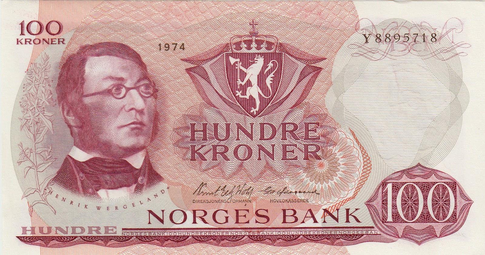 Norway Banknotes 100 Kroner banknote 1974 Henrik Wergeland