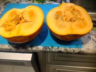 sugar pumpkin cut in half