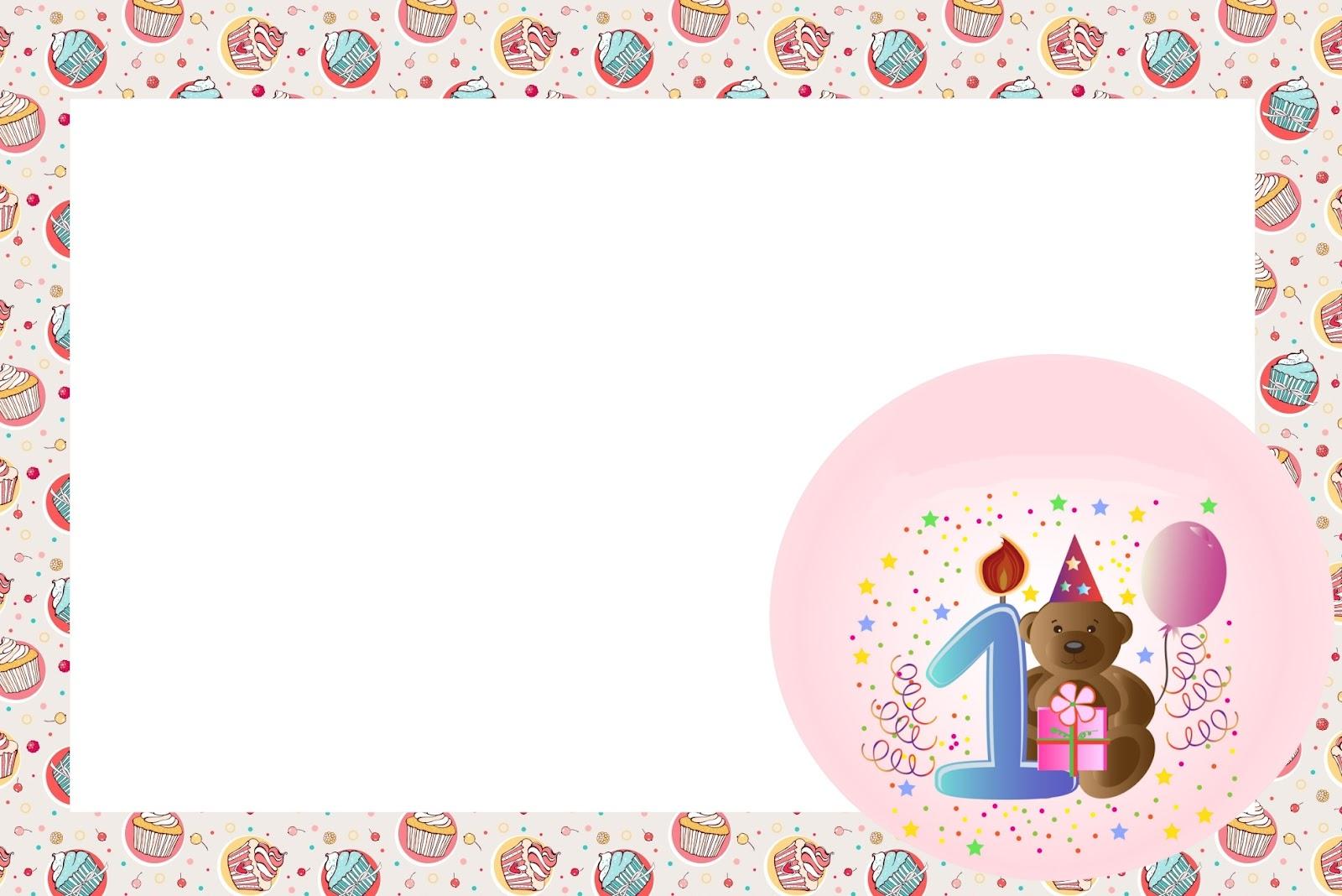 Invitaciones De Primer Año De Nena Con Osito Para Imprimir