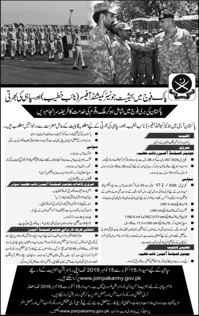 Join Pak Army Jobs 2019 for Sipahi & Naib Khateeb by joinpakarmy.gov.pk