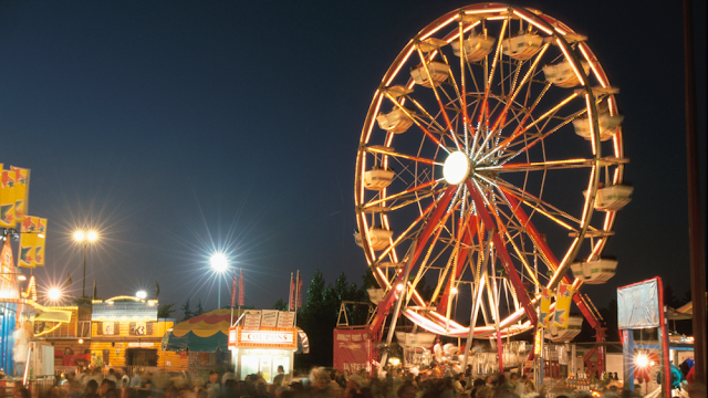 crowds moving beneath a lit ferris wheel at night