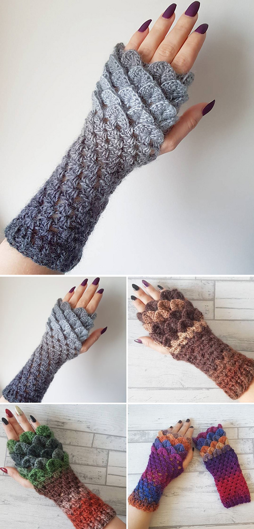 Dragon Scale Fingerless Gloves - Free Pattern