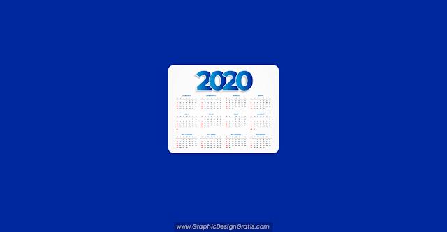 Calendario 2020 editable con diseño limpio