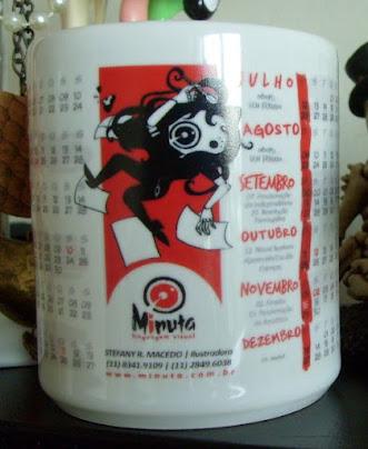 Exemplo de aplicação de logotipo em brindes Minuta Linguagem Visual