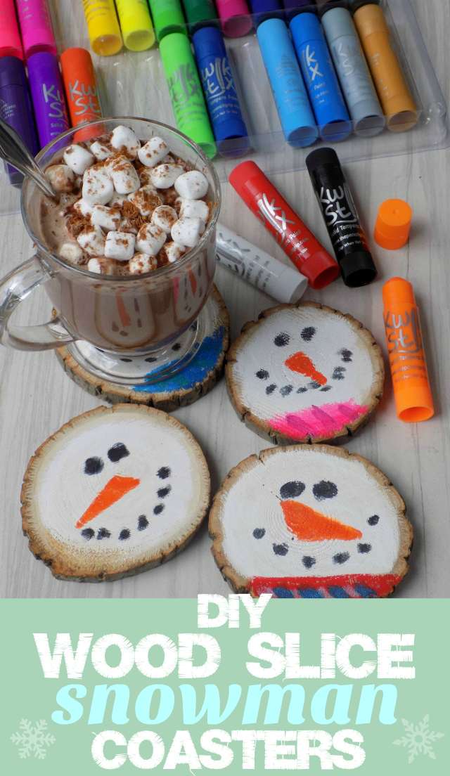DIY Wood Slice Snowman Coasters