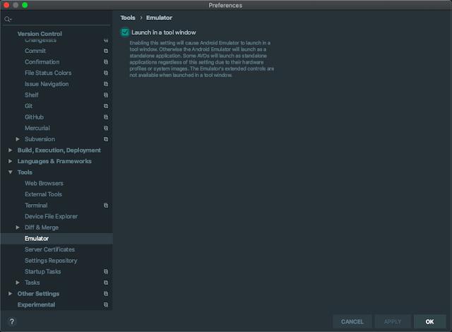 android studio emulator tool window settings