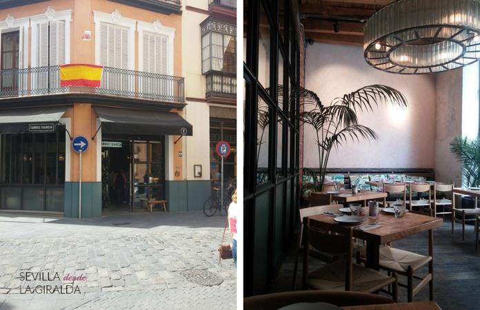 Exterior e interior de Torres y Garcia en Sevilla -lugar perfecto para comer sola-.