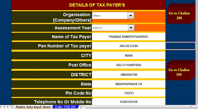 Income Tax Challan 280 in Excel Format