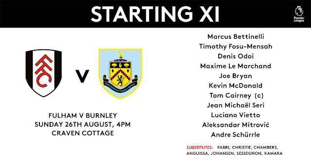 Fulham starting xi vs Burnley - Premier League