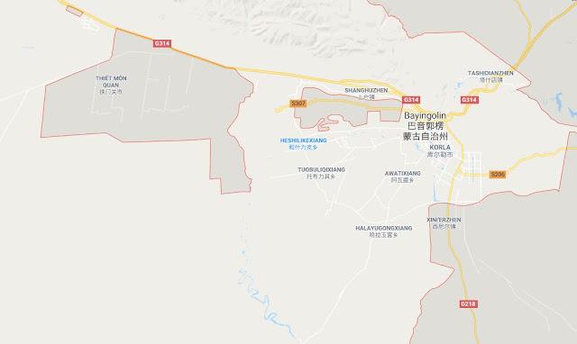 Vị trí Căn cứ Korla tại khu tự trị Tân Cương trung quốc
