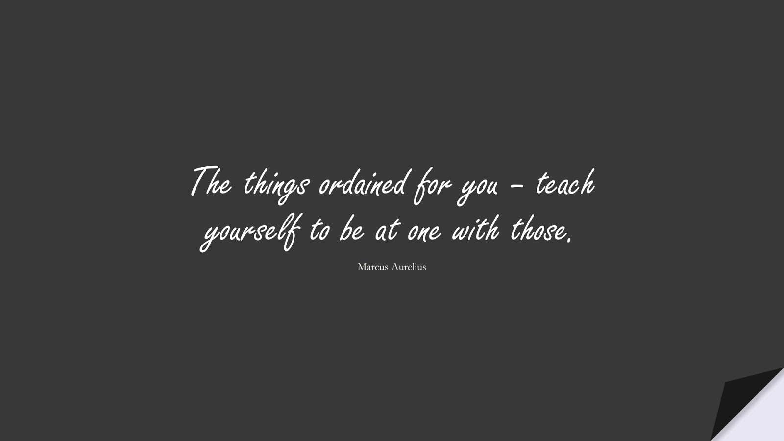 The things ordained for you – teach yourself to be at one with those. (Marcus Aurelius);  #DepressionQuotes
