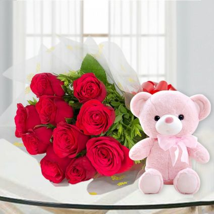 teddy & red roses