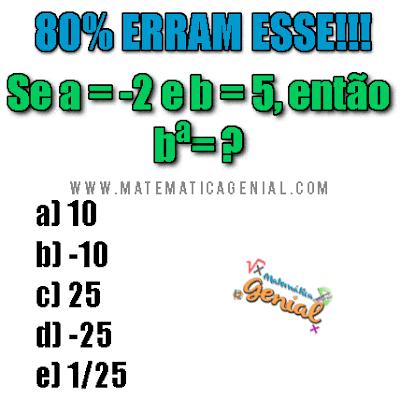 Desafio: Se a = -2 e b = 5, então b^a = ??