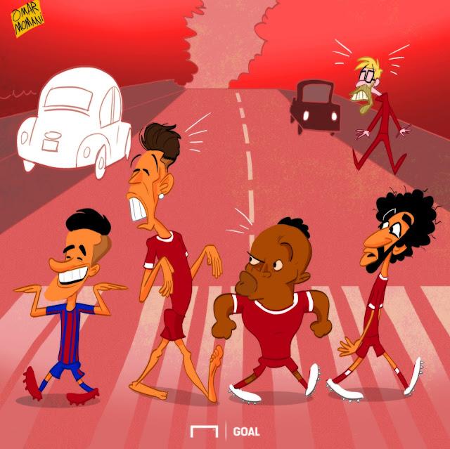 Philippe Coutinho, Roberto Firmino, Sadio Mane, Mohamed Salah, Jurgen Klopp, Liverpool, Barcelona, cartoon