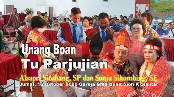 Unang Boan Tu Parjujian Da, Alsapri Sitohang, SP dan Sonia Sihombing, SE