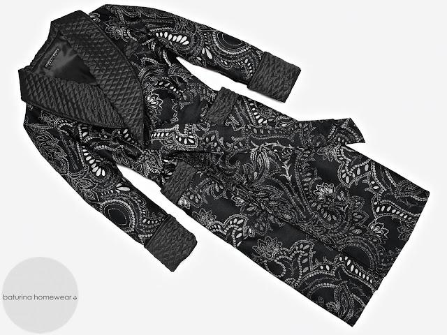 eleganter herren hausmantel luxus morgenmantel schwarz paisley seide gesteppt gefüttert lang elegant stilvoll exquisit edel