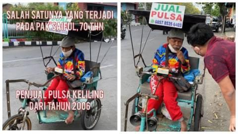 Viral, Pria Penyandang Difabel di Surabaya Jual Pulsa Keliling dengan Sepeda