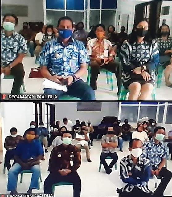 Vidcon Bersama Perangkat Kecamatan. Walikota Ingatkan Untuk Melaksanakan Surat Edaran di Wilayah Masing - masing