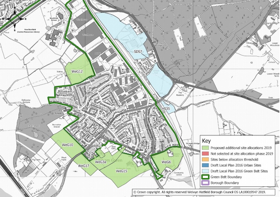 Local plan map for Welham Green