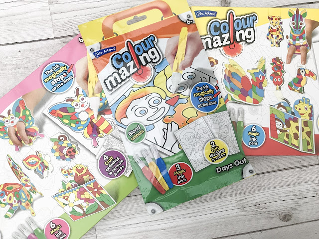 Two boxed and one packet ColourMazing set, packaging shows the ink and designs of the characters to colour