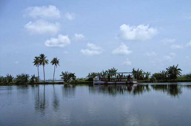 Passenger boat in Alappey back waters in Kerala