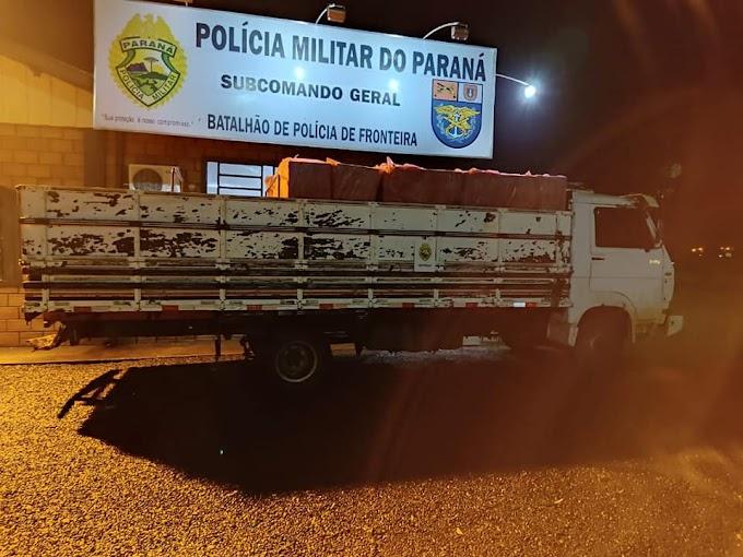 Caminhão carregado com cigarros contrabandeados é apreendido na região