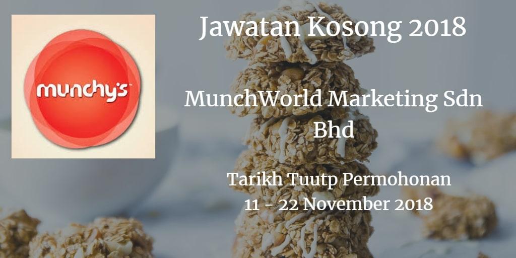 Jawatan Kosong MunchWorld Marketing Sdn Bhd 11 - 22 November 2018